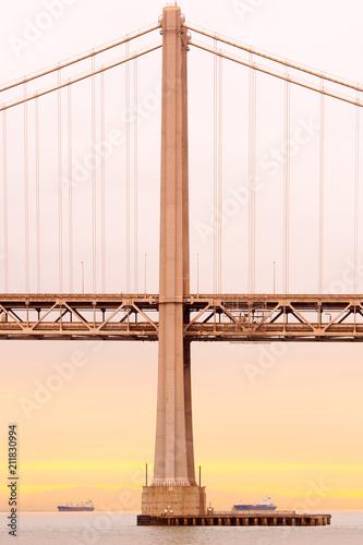 Plakat Szczegół San Oakland zatoki most przy zmierzchem, San Fransisco, Kalifornia, usa