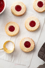 Cookies With Jam On White Background. Top View.