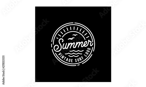Retro Hipster Stamp for Beach Surf Logo design Wallpaper Mural