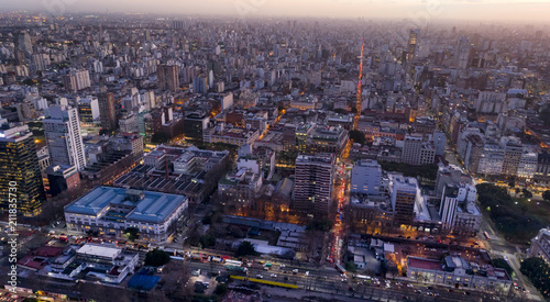Aerial View of the city. Lights of the city at sunset