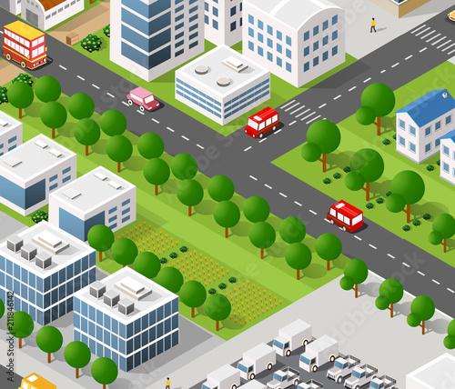 Foto op Aluminium Op straat Vector isometric urban architecture