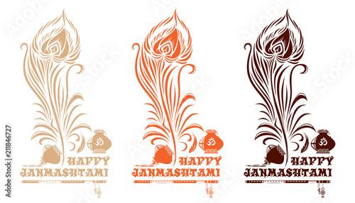 Fotografia Set of multi-colored logo icons for Krishna birthday
