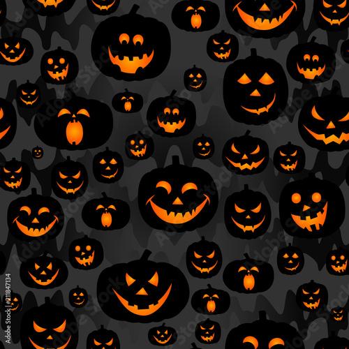Abstract Seamless Pumpkin Pattern For Girlsboy Kids Halloween