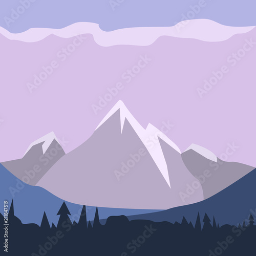 Foto op Canvas Purper Isolated landscape image