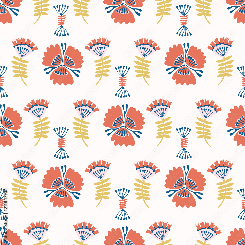 Folkore Red Blue Floral Blooms, Seamless Vector Pattern, Hand Drawn Folk Style Flower Illustration for Trendy Fashion Prints, Wallpaper, Stationery, Home Decor, Gift Wrap & Pretty Summer Backgrounds