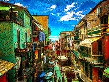 Bright Summer Street In Italy, Cinque Terre. Big Size Oil Painting Pictorial Art. Modern Impressionism Drawing Artwork. Creative Artistic Print For Canvas Or Textile. Wallpaper, Poster Or Postcard.