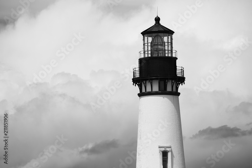 Black and white photo of the Yaquina Head Lighthouse, Newport, Oregon
