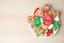 Plate With Tasty Homemade Christmas Cookies On Table, Top View