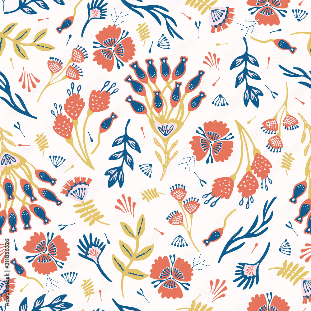 Bohemian Red Blue Floral Blooms, Seamless Vector Pattern, Hand Drawn Folk Style Flower Illustration for Trendy Fashion Prints, Wallpaper, Stationery, Home Decor, Gift Wrap & Pretty Summer Backgrounds