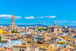 Aerial view of Palma de Mallorca with Santa Eulalia church, Spain