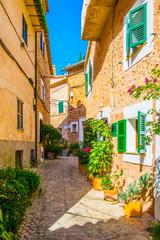 Fototapeta na wymiar A narrow street in the spanish village Fornalutx at Mallorca