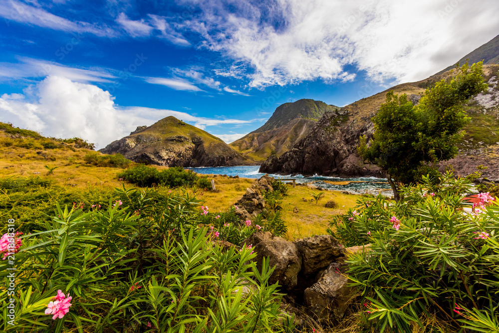 Scenery in Saba, a Caribbean island, the smallest special municipality of the Netherlands