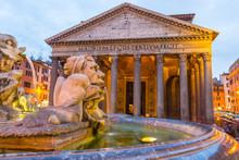 Fontana Del Pantheon At Dusk, With The Pantheon, On The Piazza Della Rotonda, Rome, Lazio