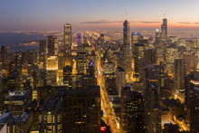 Chicago At Sunset From 875 North Michigan Avenue (John Hancock Tower), Looking Towards Willis (Sears) And Trump Tower, Chicago, Illinois