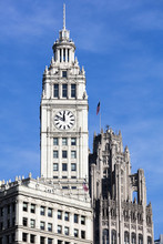 The Wrigley Building Clock Tower On A Sunny Day, Chicago, Illinois