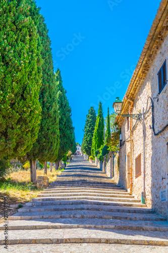 Fényképezés  365 steps of Carrer del Calvari stairway leading to the El Calvari chapel at Pol
