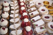 Tasty Pastries In Window Of French Patisserie Shop, Arras, Pas-de-Calais, Hauts-de-France Region, France