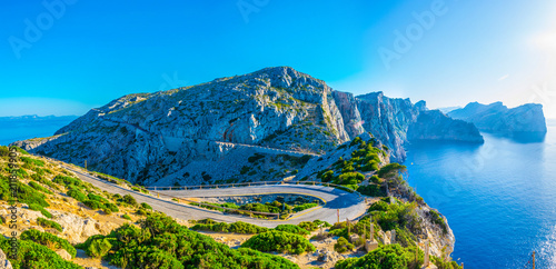 Fototapeta  A coastal road winding through Mallorca, Spain