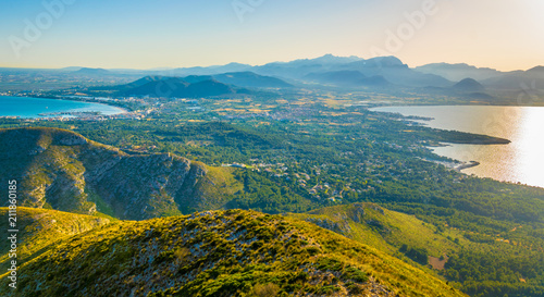 Fotografie, Obraz  Sunset aerial view of Alcudia town situated between Pollenca and Alcudia bays, M