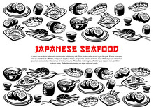 Japanese Seafood Poster Of Vector Rolls And Sushi