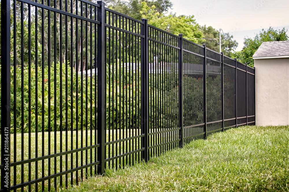 Fototapeta Black Aluminum Fence 4 Rails