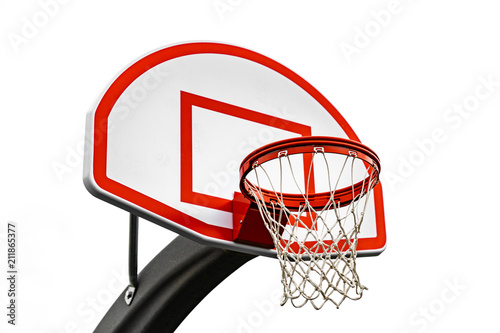 Photo Red Outdoor Basketball Hoop with small backboard