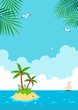 Tropical island with yacht.Summer vacation landscape