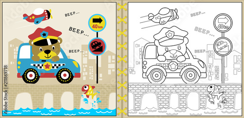 Vector of cute police cartoon with little car on bridge, coloring page or book Plakat