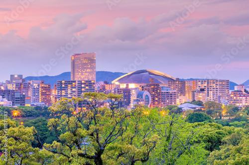 Poster Asia land Fukuoka city skyline in Japan