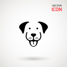 Dog Head Icon. Flat Style. Car...