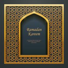 Ramadan Kareem Islamic Design Mosque Golden Door Window Tracery