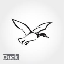 Line Art Flying Duck, Goose, Swan Landing Logo