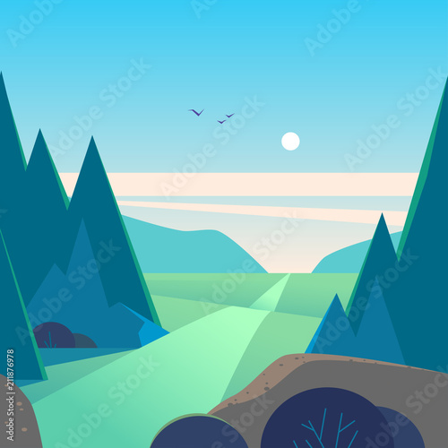 Valokuva Vector flat summer landscape illustration with mountains, sun, fir trees, road, bush, meadows and blue clouded sky