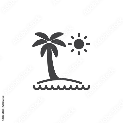 Tropical Island Vector Icon Filled Flat Sign For Mobile Concept And