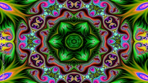 Abstract Ethnic Authentic Symmetric Pattern Ornamental Decorative Kaleidoscope Movement Geometric Circle and Star Shapes
