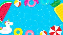 Pool Party Frame Background Ve...