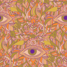 Ethnic Floral Hand Drawn Seamless Pattern With Mystery Eyes, Vector Vintage Tribal Background, Boho Design.