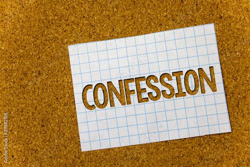 Fotografía  Text sign showing Confession