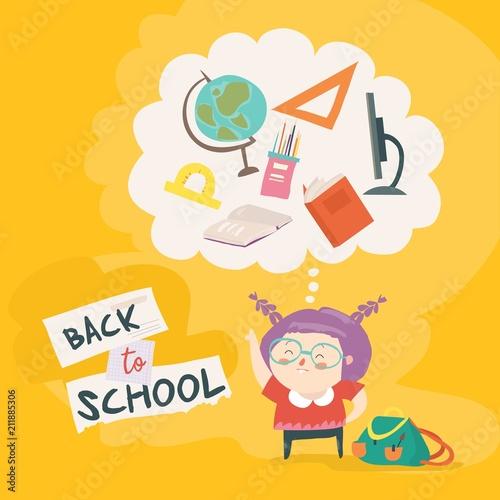 Ładna dziewczyna przygotowuje się do szkoły