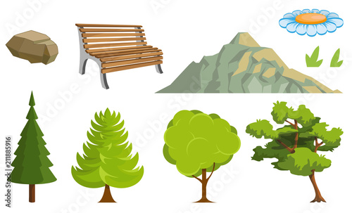 Landscape with a Mountains and Trees. Nature as a background. Park elements for landscape. Hand drawn Cartoon nature. Paysage with blue sky and flower fields. Vector graphics to design