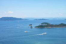 Ferryboats Passing By One Another On The Seto Inland Sea,Takamatsu,Kagawa,shikoku,japan