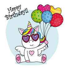 Cute Unicorn With Sunglasses And Balloons For Birthday Party