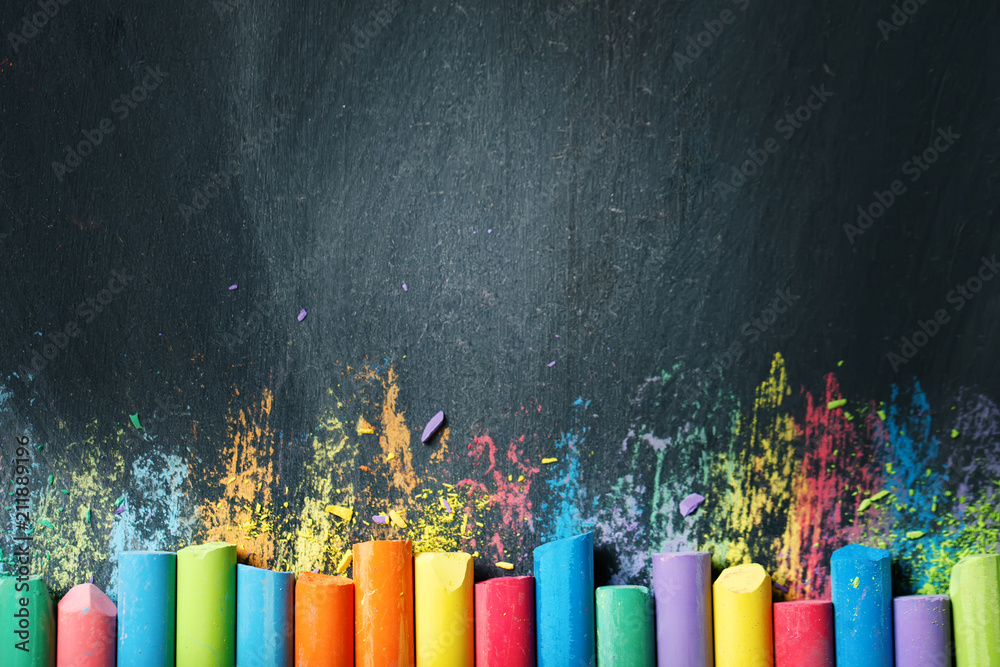 Fototapety, obrazy: Colorful crayons on the blackboard, drawing. Back to school background.