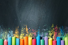 Colorful Crayons On The Blackboard, Drawing. Back To School Background.