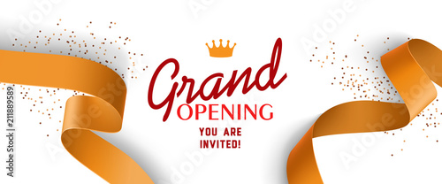 Obraz Grand opening invitation design with gold ribbons, crown and confetti. Festive template can be used for banners, flyers, posters. - fototapety do salonu