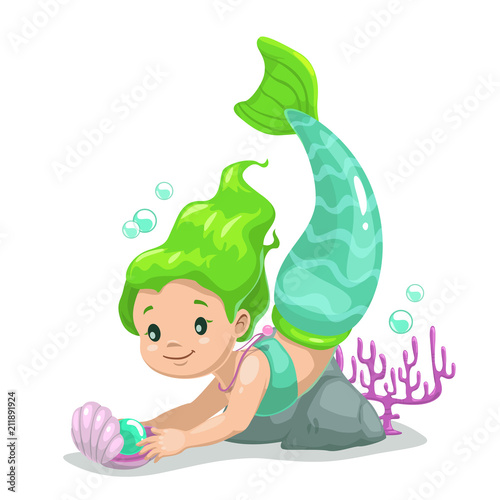 Photographie  Little cute cartoon young mermaid princess