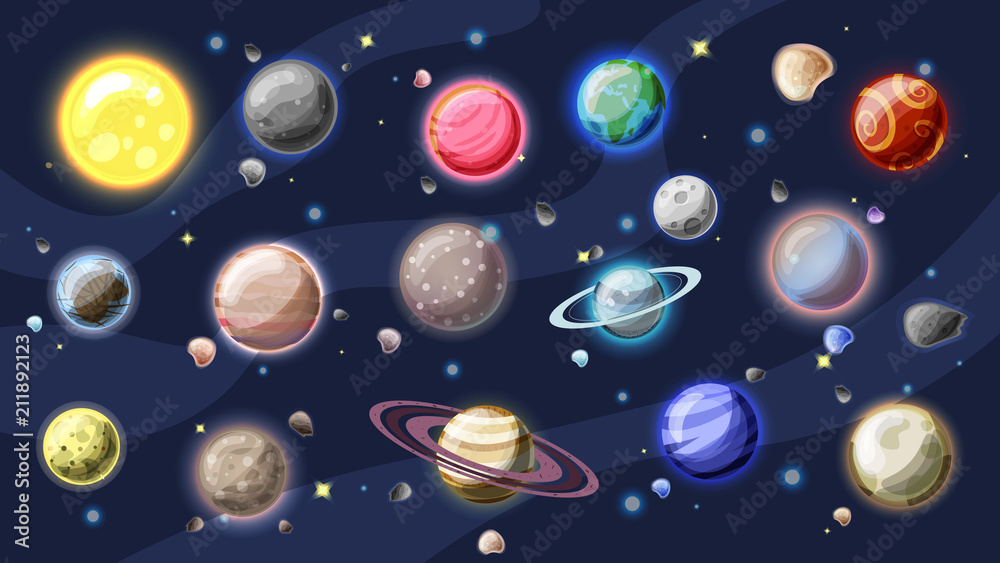 Fototapeta Solar system vector cartoon collection. Planets, moons of Earth, Jupiter and other planet of Solar system, with asteroids, Sun and planet rings. Set of cartooning planets of Solar system, space vector