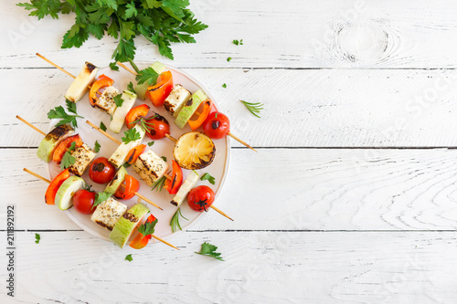 Vegetarian skewers with halloumi cheese