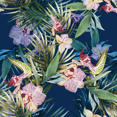 FototapetaWatercolor orchid seamless pattern.