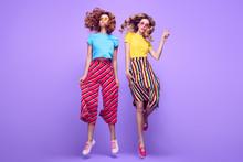 Two Girls Having Fun Dance. Fashion Summer Outfit